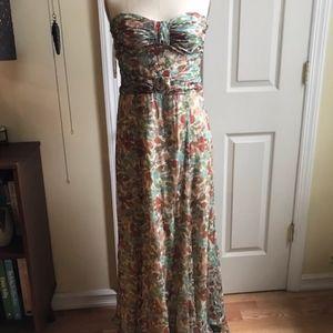 Silk Chiffon Strapless Gown, Sz 6